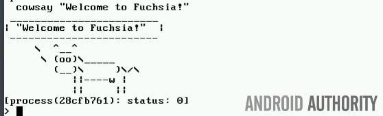 Команда cowsay работает в Fuchsia отлично