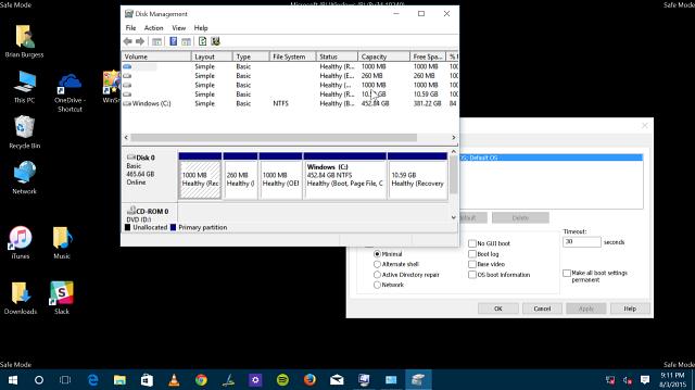 Windows 10, запущенная в безопасном режиме