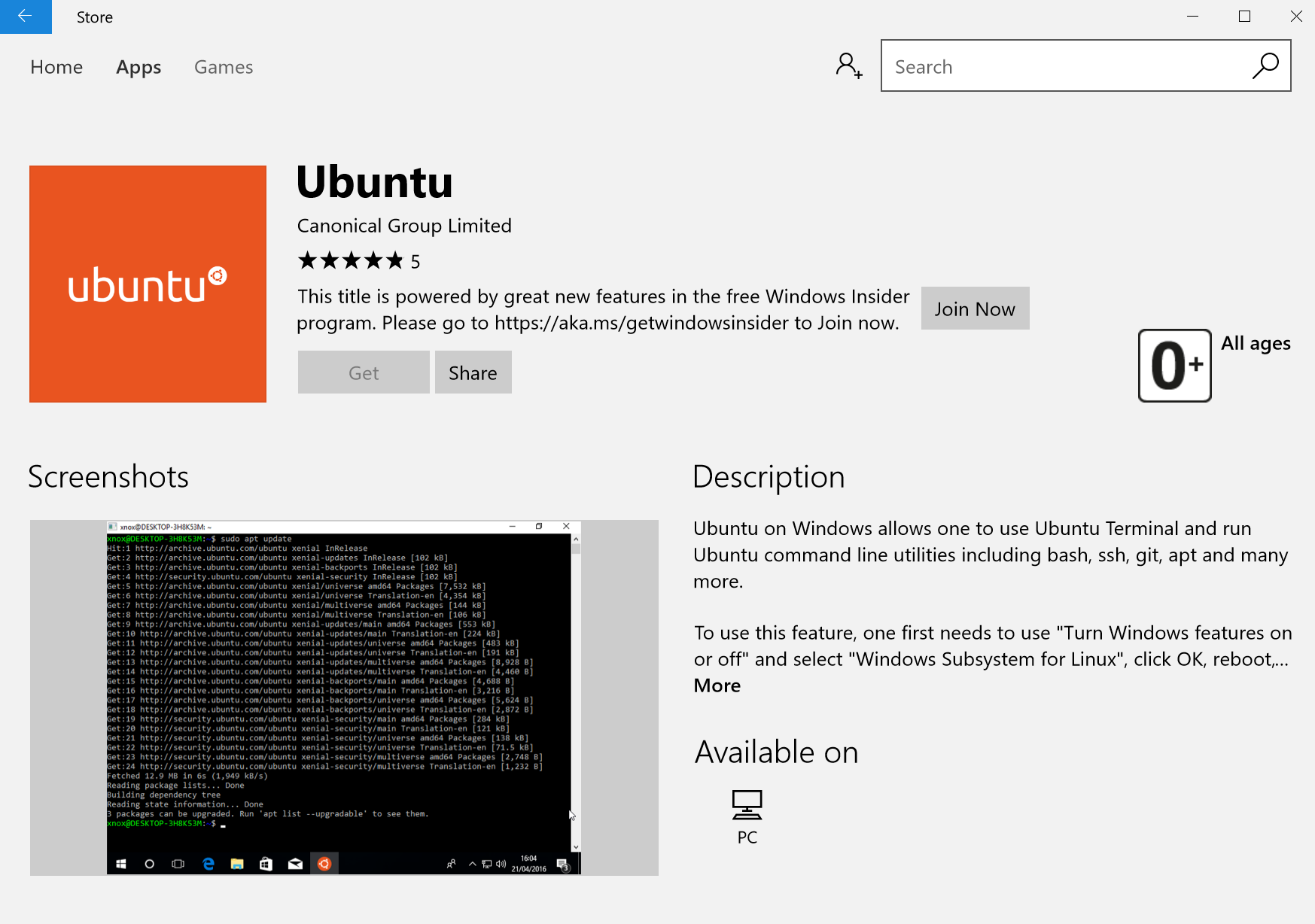 Ubuntu Windows Store