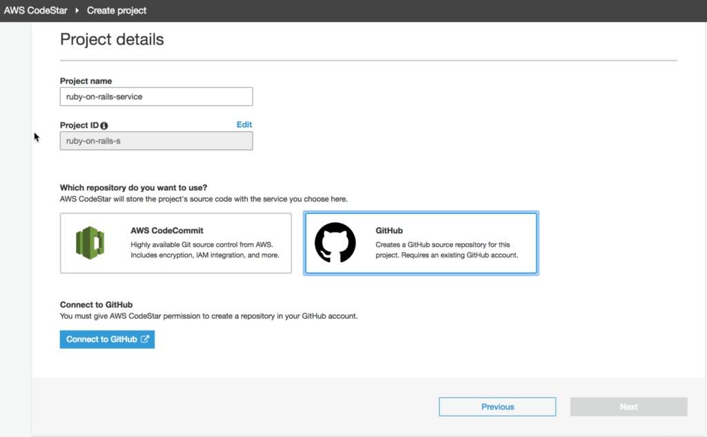 Github AWS CodeStar