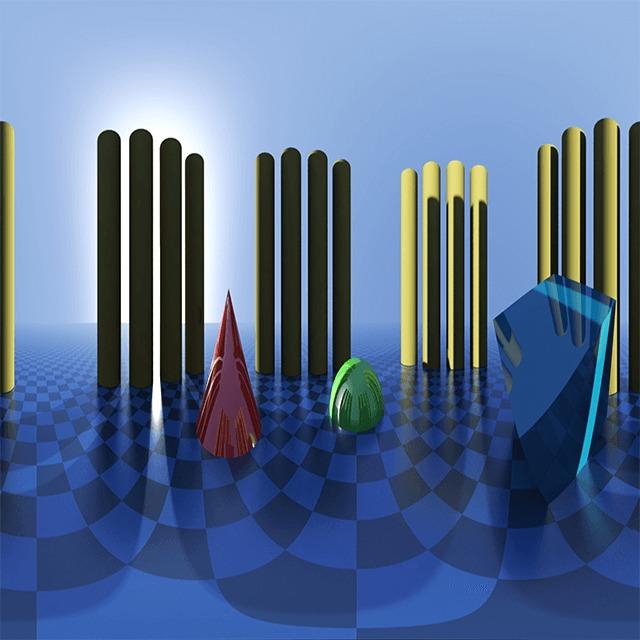 Пример сцены в 360 Video Player: трехмерные геометрические фигуры