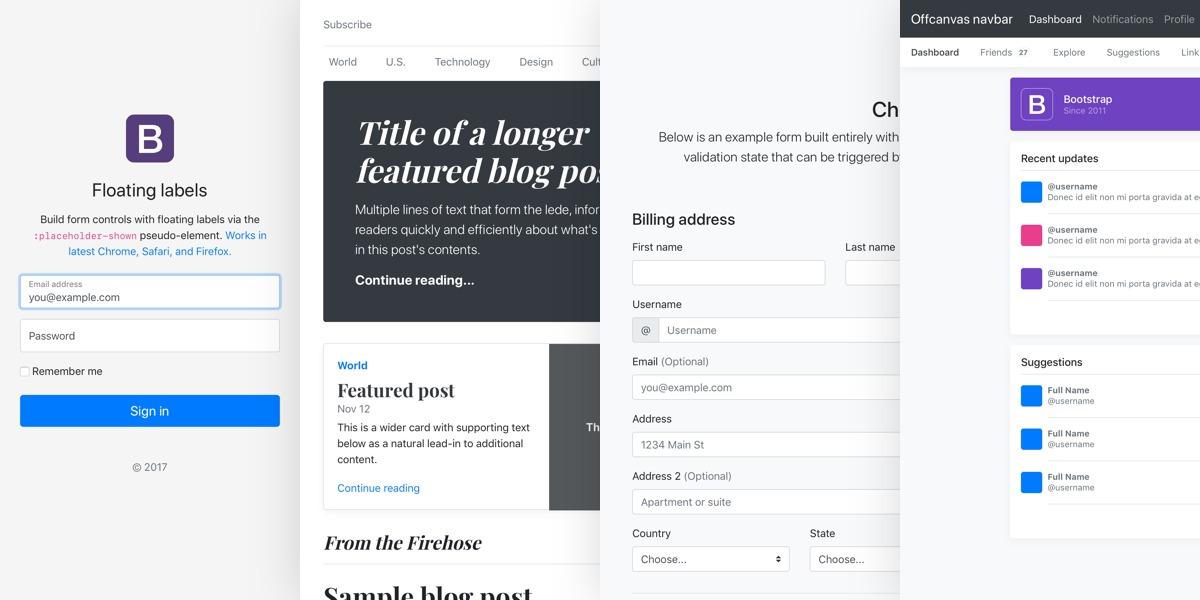 Примеры проектов на Bootstrap 4