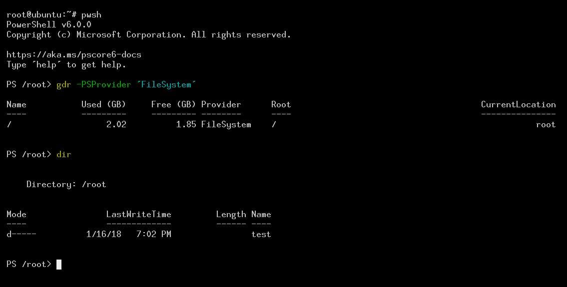 PowerShell в Ubuntu скриншот