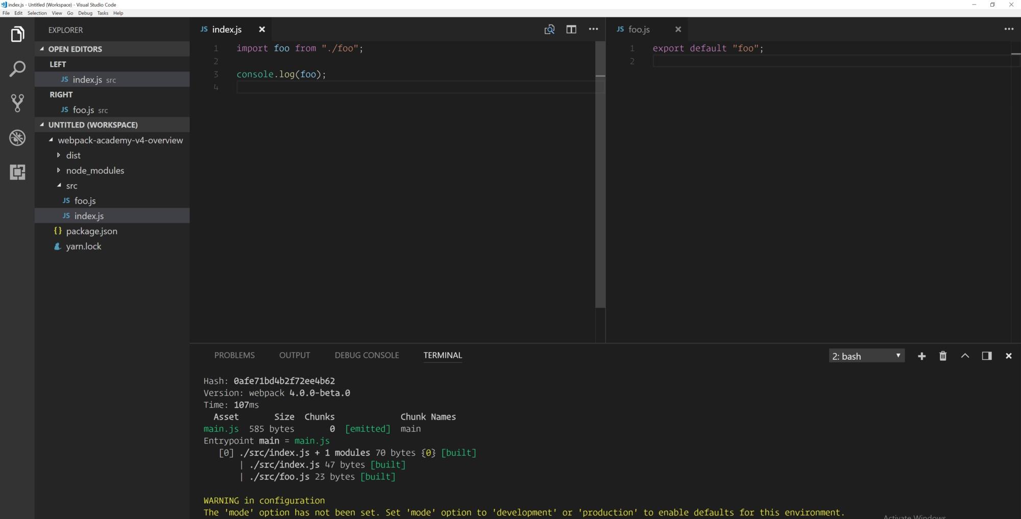 Окно редактора кода: webpack без предварительной конфигурации