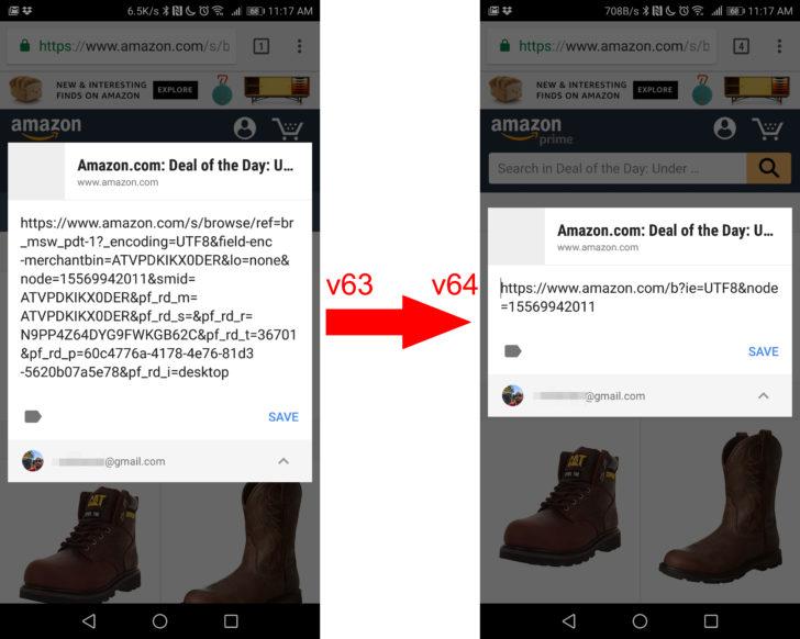Google Chrome v64 удаляет лишние символы в URL
