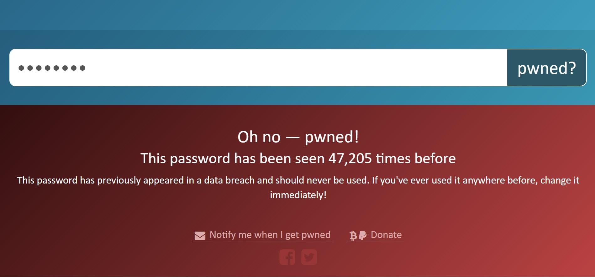 Pwned Passwords: поле для ввода пароля, подлежащего проверке