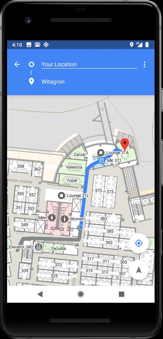 пример построения маршрута внутри здания