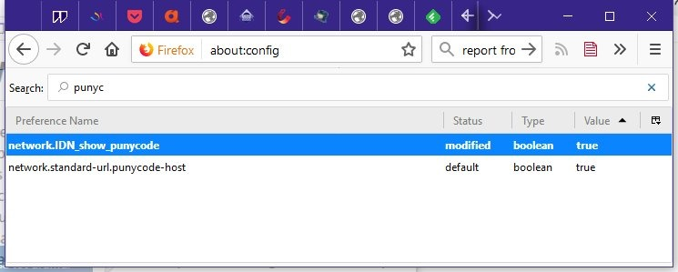 Punycode Firefox support