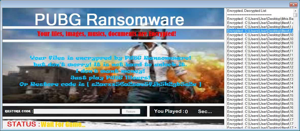 Ransomware main menu