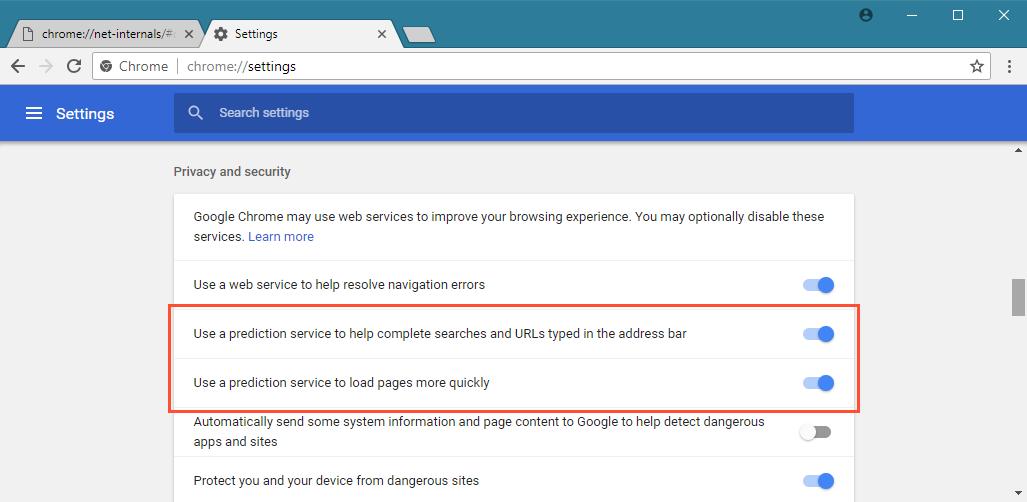 Chrome-DNS-settings