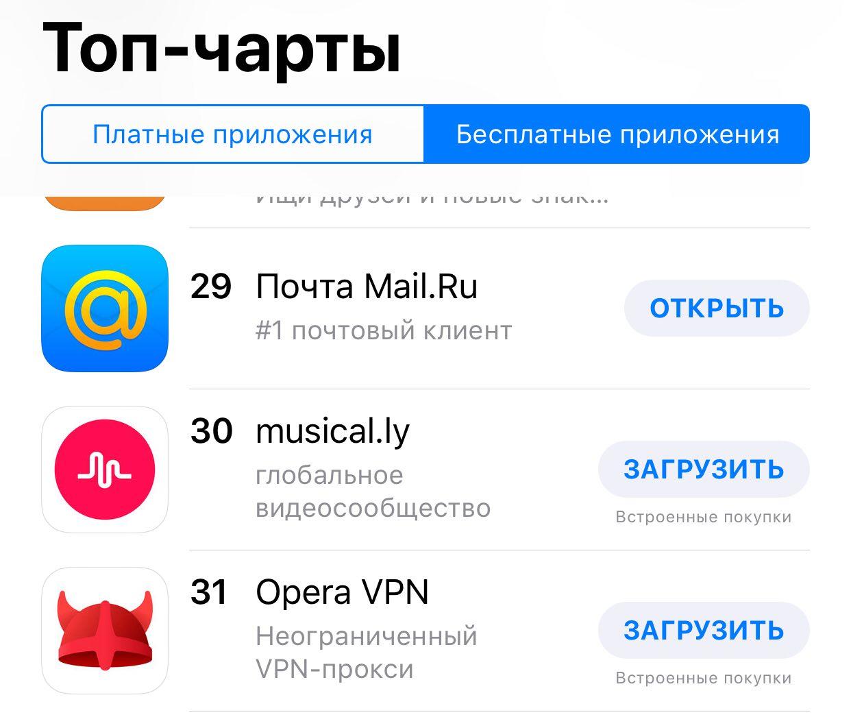 Opera VPN на 31 позиции в рейтинге самых популярных бесплатных приложений App Store на 16 апреля