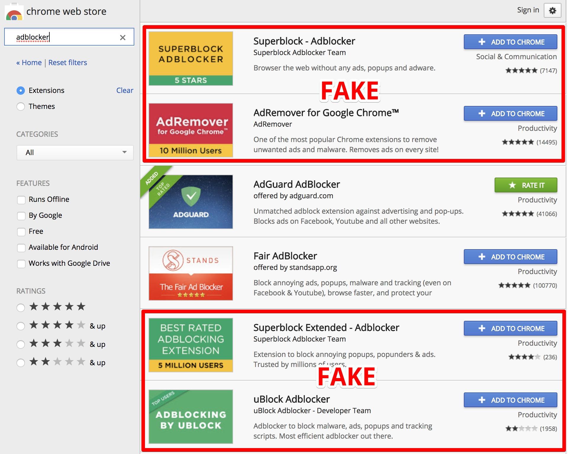 Фальшивые расширения Google Chrome