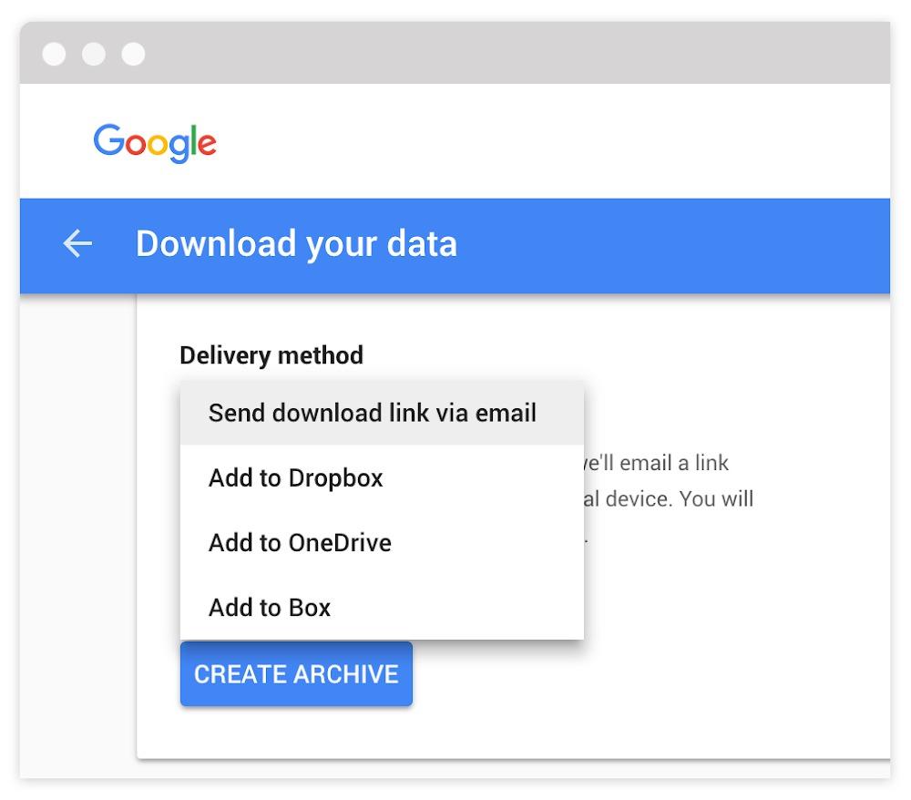 Экспорт данных из сервисов Google