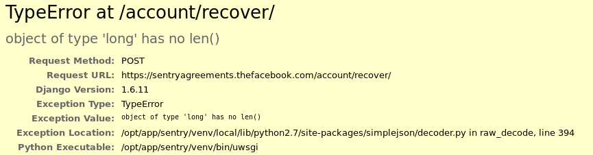 Facebook Stack Trace