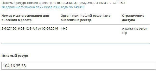 Реестр запрещённых сайтов
