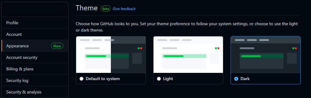 Тёмная тема на GitHub